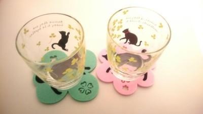 16黒猫ペアグラスクローバー&コースターフラワー