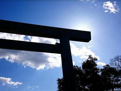 180124伊勢神宮内宮鳥居と太陽