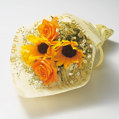 ひまわり花束とスターバックスプレミアムミックスのセット
