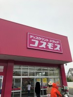 【ピンクの看板が目立つコスモス】